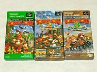 Super Donkey Kong 1 2 3 Boxed Lot 3 Games Nintendo SFC Super Famicom SNES NTSC-J