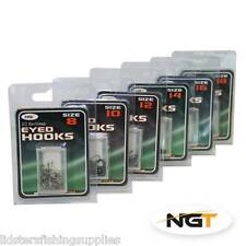 20x NGT Tackle Grey Coarse Barbless Eyed Hooks Size 8 for Carp and Course