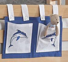 Stofftasche Seitentasche Betttasche für Hochbett Spielbett weiss blau Delfin