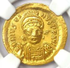 Ancient Byzantine Justin I AV Solidus Gold Angel Coin 518-527 AD - NGC MS (UNC)