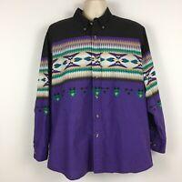 Express Rider Mens Size XL Western Tribal Long Sleeve Shirt Purple Button Down