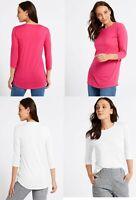 Marks Spencer M&S Women Round Neck 3/4 Sleeve Longline Blouse T Shirt Top 8-24