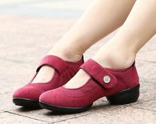 New Womens Breath Dance Shoes Round Toe Block Heels Casual Sport Sneakers SIZE