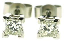 Platinum diamond stud earrings vintage Princess cut total 0.40ct post and scroll