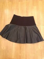 GREAT MARKS AND SPENCER BLACK LEATHER LOOK SKATER SKIRT UK SIZE 10 WORN ONCE