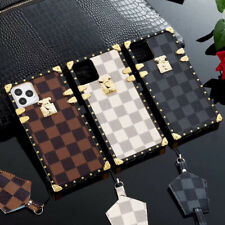 Luxury Plating Grid Leather Trunk Case cover for iPhone 11 Xs Pro Max XR 7 8+