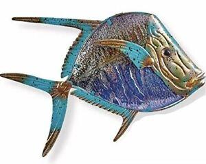"""Dory Fish Glass Metal Wall Art Decor Blue Purple Gold 15.5""""L x 12"""" Wide 1334"""