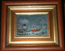 "IVAN VECENAJ: GREAT MASTER: ""Oxen""; Croatian Naive Art, reverse glass paintings"