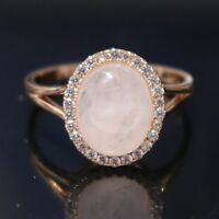 Sparkling 3 Ct Rose Quartz Moissanite Halo Ring 14K Rose Gold Plated Jewelry