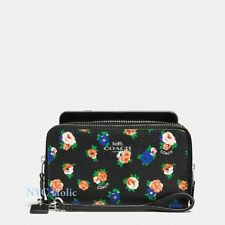 New Coach F57977 Double Zip Phone Wallet In Tea Rose Floral Print Black NWT