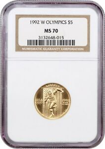 1992-W Olympic Sprinter $5 NGC MS70 - Modern Commemorative Gold
