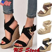 Women's Sandals Wedge High Heels Straw Platform Ladies Open Toe Buckle Shoes USA