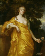 Dream-art Oil painting young noble woman in yellow dress holding roses in sunset
