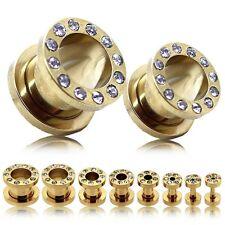 Tunnelset 10 Stk Plug Ohrringe Dehner Piercing Golden Strass 1,6 - 14 mm Set