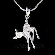 w Swarovski Crystal cute Baby ~BAMBI DEER fawn Charm Chain Necklace Jewelry Xmas