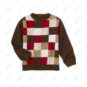 Gymboree Boys Cotton Patchwork Sweater Brown  Sz L( 10-12)