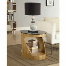 Jual Furnishings JF304 Curve Oval Lamp Side End Table in Walnut & Black Glass
