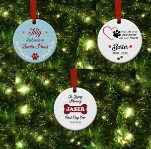 Personalised MDF Ceramic Christmas Tree Decorations, Pets love santa paws.