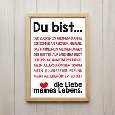 Liebe Spruch Kunstdruck Poster A4 Geschenk Deko Wand Bild Druck Rot Schwarz Love