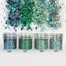 4 Pots/Set Chunky Sea Green Mermaid Holographic Cosmetic Eyeshadow Loose Glitter