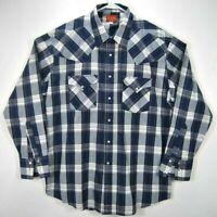 Ely Plains Mens Sz XL Long Sleeves Pearl Snap Blue Plaid Western Cowboy Shirt