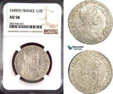 AD442, France, Louis XIV, 1/2 Ecu 1649 (9) Rennes, Silver, NGC AU58