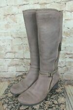 "BLONDO ""FATINE"" WOMEN'S TAUPE NUBUCK WATERPROOF ZIPPER TALL BOOTS SIZE 7US"