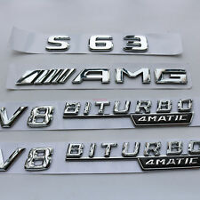 """""""S 63  + AMG + V8 BITURBO """" Letters Trunk Embl Badge Sticker for Mercedes Benz"""