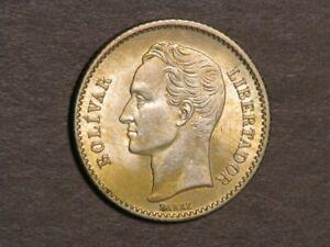 VENEZUELA 1935 1 Bolivar Silver AU-Unc
