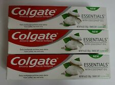 Lot of 3 Colgate Essentials Toothpaste Tubes Whitening with Coconut Oil 4.6 oz