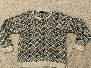 Northern Isles Men's Sweater Wave Pattern Knit Pullover L