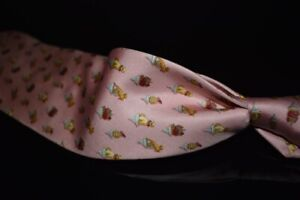 Salvatore Ferragamo Made in Italy Baby Pink Dogs On Pedastals Whimsical Silk Tie