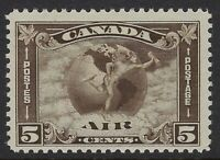 Scott C2: 5c Canada Airmail Mercury with Scroll in front of Globe, F-VF-NH