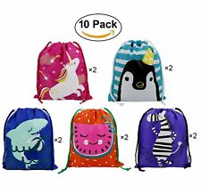 Party Favors Bags 10 Pack 5 Designs, Cartoon Gift Candy Drawstring Bags Pouch,