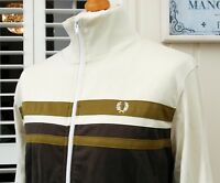 """Fred Perry Ivory Color Block Track Jacket - L/XL - 44"""" - Ska Mod Scooter Casuals"""