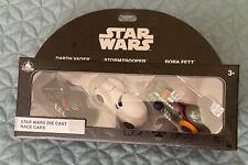 Disney 3 Star Wars Die Cast Race Cars Darth Vader, Stormtrooper & Boba Fett -NIB