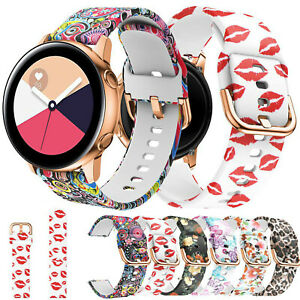 Floral Silicone Band For Samsung Galaxy Watch 42mm Active 2 40mm 44mm Strap Belt