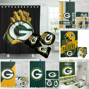 Green Bay Packers Bathroom Rug Mat Shower Curtain 4PCS Non-Slip Toilet Lid Cover