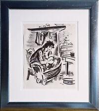 Frans Masereel 1889-1972: Junge Mutter ihr Kind stillend, Tuschezeichnung 1944