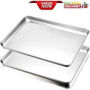 Baking Tray Set of 2 Stainless Steel Baking Sheet Non Toxic Rimmed Pan Cooking