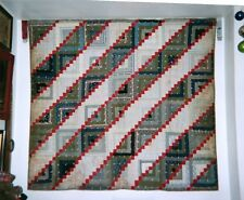 Velcroed & Ready-to-Hang STRAIGHT FURROW LOG CABIN w Red Diamonds Quilt c1875-85