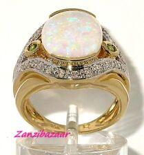 LAURA RAMSEY 18K YELLOW GOLD AUSTRALIAN OPAL, TSAVORITE GARNET & DIAMOND RING