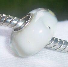 Clear White Bubble Single Core Glass Bead for Silver European Charm Bracelets