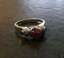 Harry Ivens IV Rubinring Silberring mit Saphir und Smaragd 925er Silber Ring