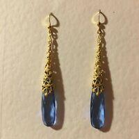 NEW ART DECO STYLE VINTAGE GOLD BRASS FILIGREE LONG BLUE DROP EARRINGS hook