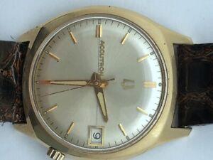 1968 Bulova Accutron 218 Gold Filled Clean Original Dial /w Date Runs Serviced