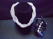 NEW FASHION JEWELRY SET - NECKLACE & BRACELET CREAM/SILVER BEADS