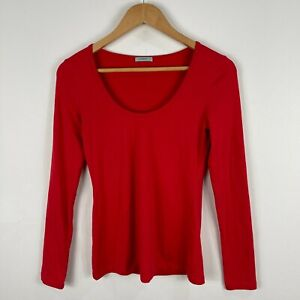 Kookai Womens Top 2 Red Long Sleeve Scoop Neck Jersey Fitted