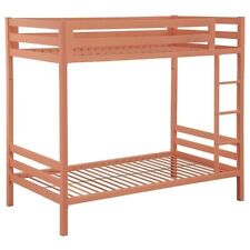 Pemberly Row Twin Over Twin Bunk Bed in Coral