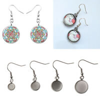 10Pcs Stainless Steel Earring Hooks Round Cabochon Settings for Jewelry Making